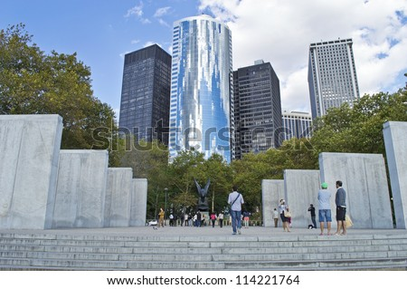 NEW YORK - SEPTEMBER 24: The Navy Memorial in Battery Park in lower Manhattan on September 24,2012. The walls contain the names of sailors killed during World War 2. - stock photo