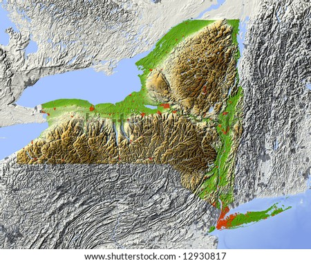New York. Shaded relief map.  Shows major urban areas and rivers, surrounding territory greyed out. Colored according to relative terrain height. Clipping path for the state area included. - stock photo