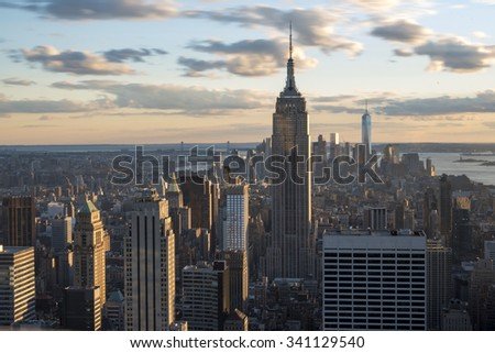 New York sightseeing and attractions: Panoramic view of New York city skyline from the Rock Observatory.New York has architecturally significant buildings in a wide range of styles  - stock photo