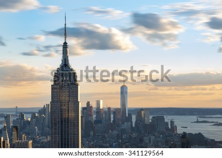 New York sightseeing and attractions: Panoramic view of New York city skyline from the Rock Observatory.New York has architecturally significant buildings in a wide range of styles