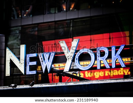 New York signage made from neon tubes - stock photo