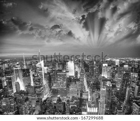 New York skyline aerial view. - stock photo