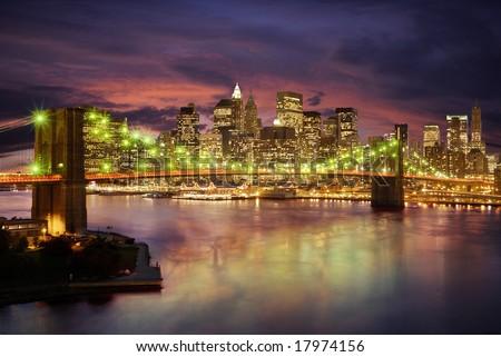 New york skyline at sunset - stock photo