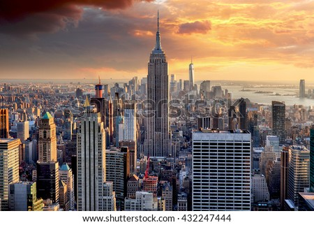 New York skyline at sunset, USA. - stock photo