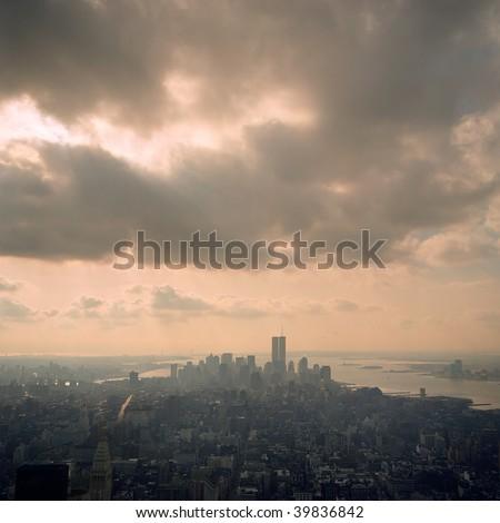 new york skyline before 2001 - stock photo