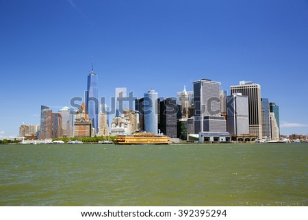 New York skyline downtown manhattan from Governors Island - stock photo