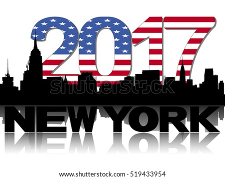 New York skyline 2017 flag text illustration