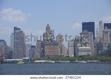 New York Skyline, from Staten Island Ferry, Lower Manhattan, Financial District, New York City