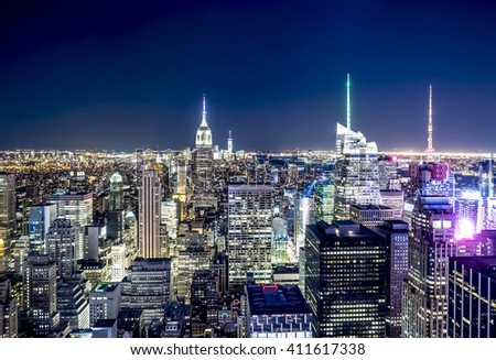 New York skyline in the night