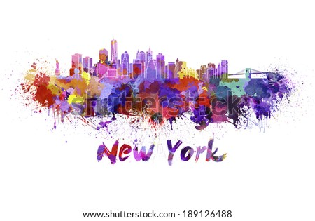 New York skyline in watercolor splatters with clipping path - stock photo