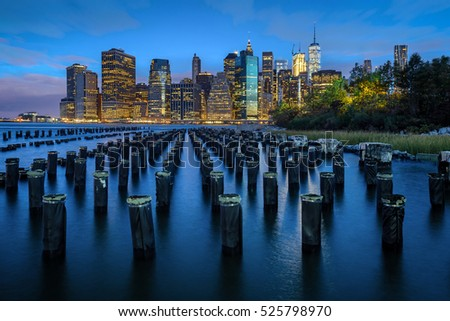 New York skyline. Lower Manhattan view over the East River.