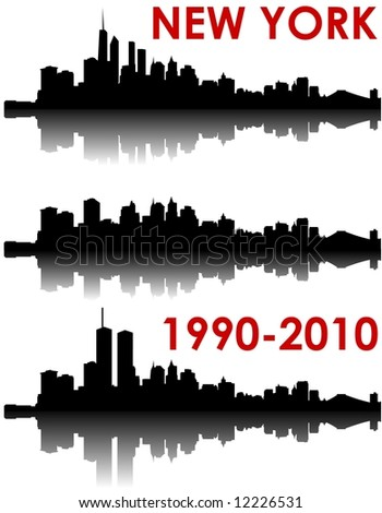 New York Skyline 1990-2010 - old World Trade Center, without and with the new WTC - stock photo
