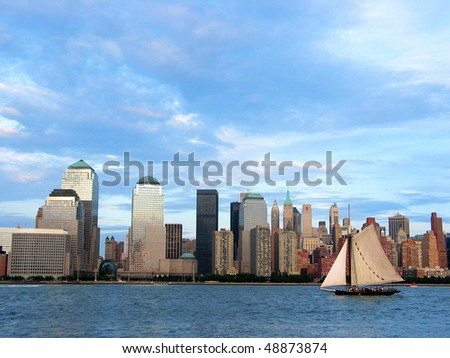 New York Skyline / Sailboat - stock photo
