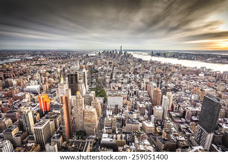 New York skyline, view from Brooklyn  - stock photo