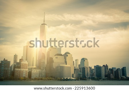New York skyline-view from Hudson river - stock photo
