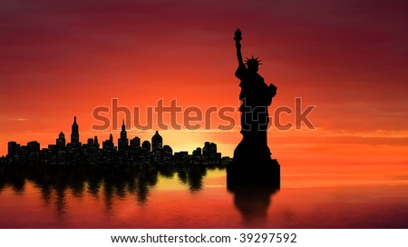 New York skyline with Statue of Liberty at sunset - stock photo