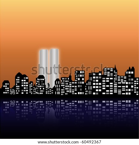 New York Skyline with the Twin Towers - stock photo