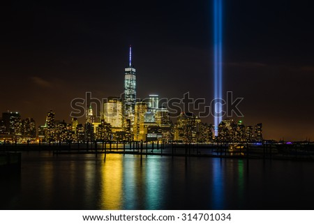 New York skyline with Tribute in Lights - stock photo