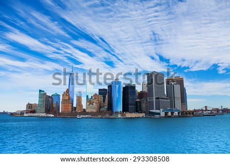 New York skyscrapers in lower Manhattan on sunny winter day - stock photo