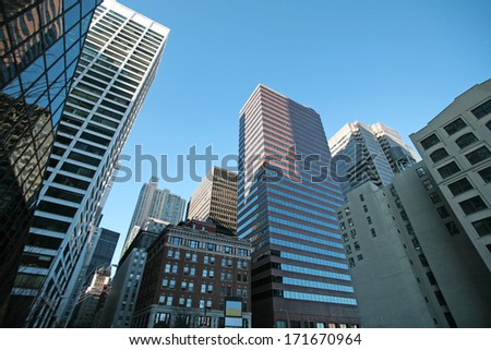 New York skyscrapers in Manhattan, USA - stock photo