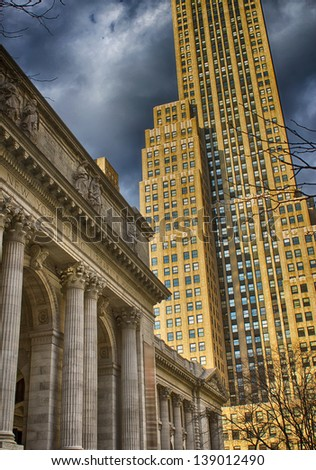 New York Skyscrapers on 5th Avenue, Next to the Public Library. - stock photo
