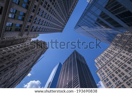 New York Skyscrapers View Upward - stock photo