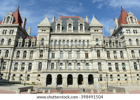 New York State Capitol, Albany, New York, USA. This building was built with Romanesque Revival and Neo-Renaissance style in 1867. - stock photo