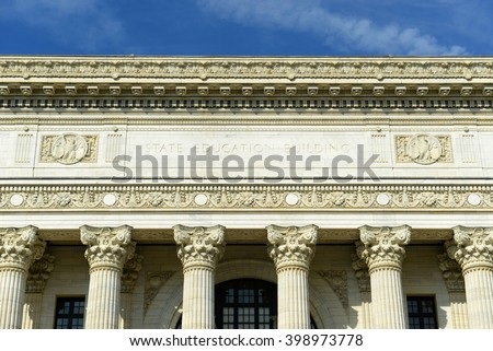New York State Education Department Building was built in 1912 with Beaux-Arts style in downtown Albany, New York State, USA. This building was listed as a National Historic Places in 1971. - stock photo