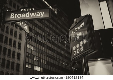 New York. Street signs and giant Buildings of Manhattan. - stock photo
