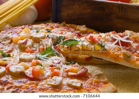 new york style pepperoni pizza with decoration