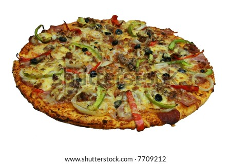 New York Style Pizza isolated on white background
