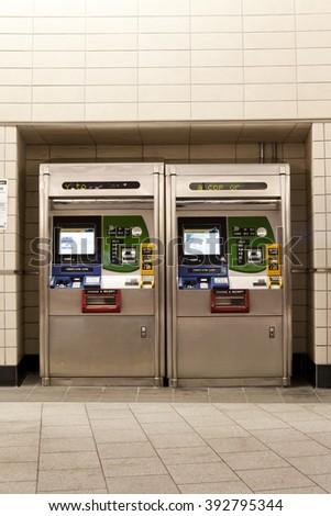 New York subway ticket vending machine  - stock photo