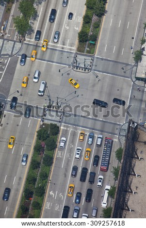 New york traffic aerial view of streets - stock photo