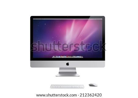 New York, U.S.A.- April  04, 2014: Studio shot of Apple iMac 27 inch desktop computer  against white background. - stock photo
