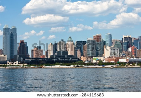 New York, U.S.A. - July 6 2009: Manhattan, skyline of the city seen from the Hudson river