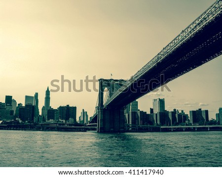 NEW YORK, UNITED STATES - AUGUST 12, 2007 - View of New York from the ferry while sailing under the bridge