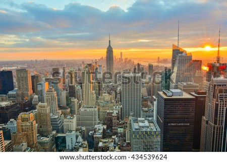 NEW YORK, UNITED STATES - DECEMBER 30, 2015 -  A View of the Manhattan Skyline at Twilight - stock photo