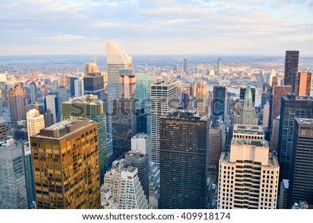 NEW YORK, UNITED STATES - DECEMBER 29, 2015 -  panoramic view of New York from rockefeller center in the heart of the Big Apple in the united states of america - stock photo