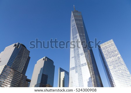 New York, United States of America - November 18, 2016: View of the World Trade Center in Lower Manhattan