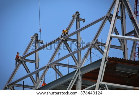 New York, US - August 2015: workers on a building construction site near high line New York