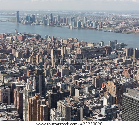 NEW YORK, USA - Apr 30, 2016: Manhattan Streets viewed from Empire State Building - stock photo
