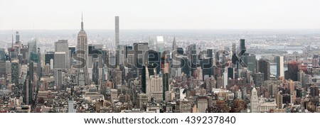 NEW YORK, USA - Apr 28, 2016:  New York City Manhattan midtown view with the Empire State Building. View from the World Trade Center