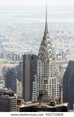 NEW YORK, USA - Apr 30, 2016: New York City Manhattan view with Chrysler Building - stock photo