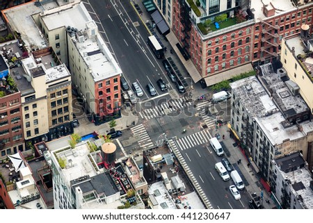 NEW YORK, USA - Apr 28, 2016: The streets and roofs of Manhattan. New York City Manhattan midtown view