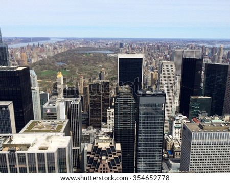 New York, USA - April 19, 2015: Central Park is one of the most famous places on Manhattan, New York City. Rockefeller Center Observation Deck view. Mobile photo.