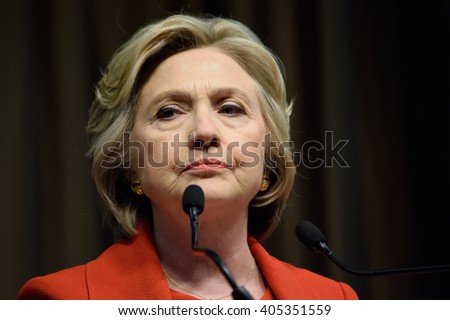 NEW YORK, USA - APRIL 13, 2016: Presidential candidate Hillary Clinton speaks at the National Action Network convention on their 25th year anniversary.
