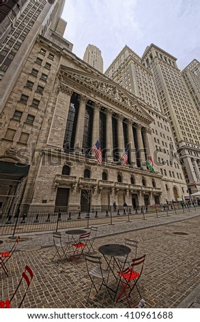 NEW YORK, USA - APRIL 24, 2015: Street view on New York Stock Exchange on Wall Street, Lower Manhattan, USA. It is called NYSE in short.  - stock photo