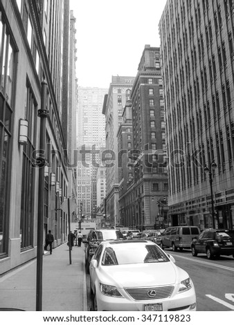 NEW YORK, USA - APRIL 7, 2011: View of modern architecture in Manhattan in black and white