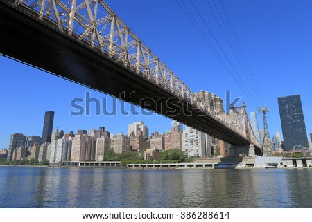 NEW YORK, USA-AUG 30: Ed Koch Queensboro Bridge from Roosevelt Island, August 30, 2012