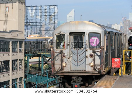 NEW YORK, USA-AUG 22: LINE7 Subway MTA at Queensboro Plaza, August 22, 2012